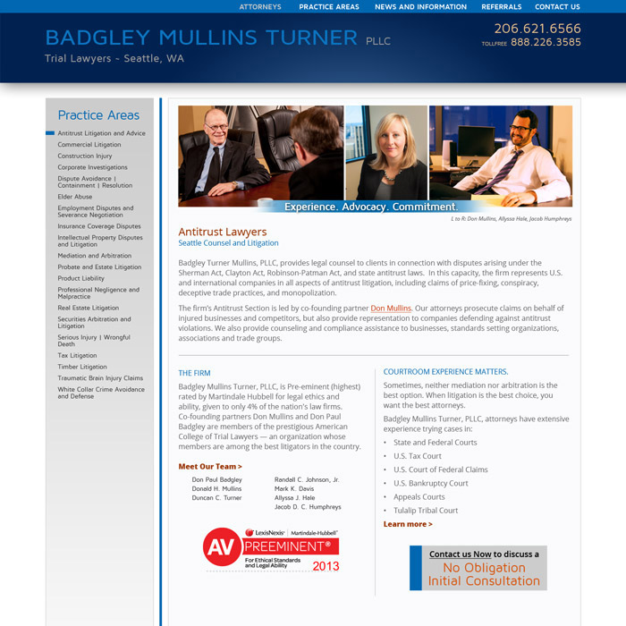 Badgley Mullins Turner Website Antitrust