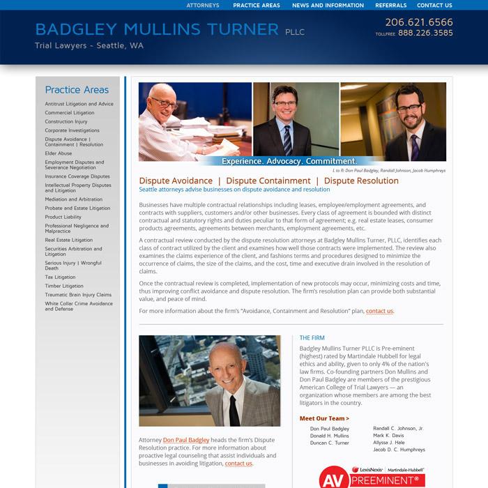 Badgley Mullins Turner Website Disputes
