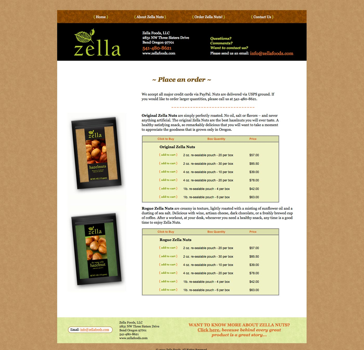 Zella Website Order Page