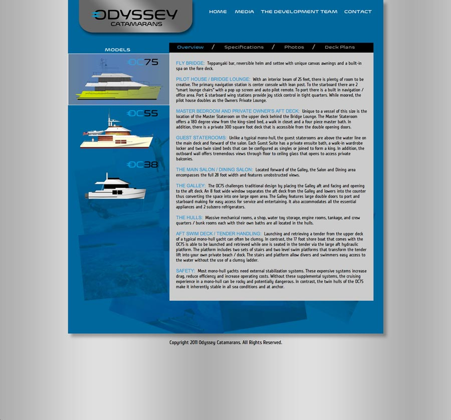 Odyssey Catamarans Website Overview