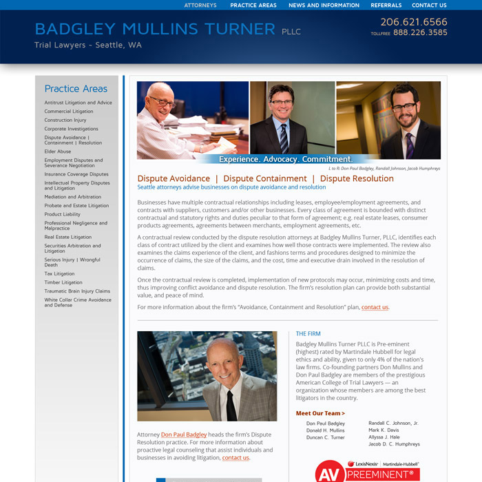 Badgley Mullins Turner Website Disputes